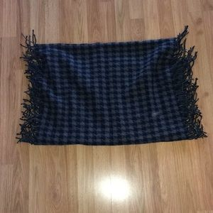 "Talbots black & gray fringed scarf 66""x24"""